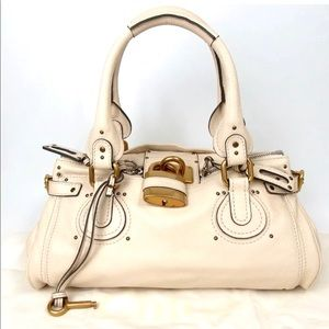 Auth Chloe Paddington Off White Shoulder Bag